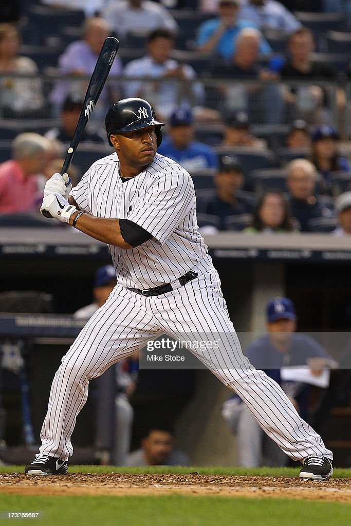 Vernon Wells of the New York Yankees in bats against the Los Angeles Dodgers at Yankee Stadium on June 19 2013 in the Bronx borough of New York City...