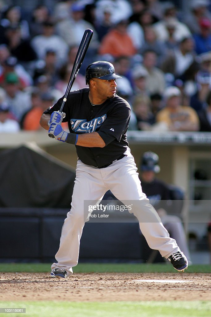 Vernon Wells of the Toronto Blue Jays bats during the game against the San Diego Padres at Petco Park on June 16 2010 in San Diego California The...
