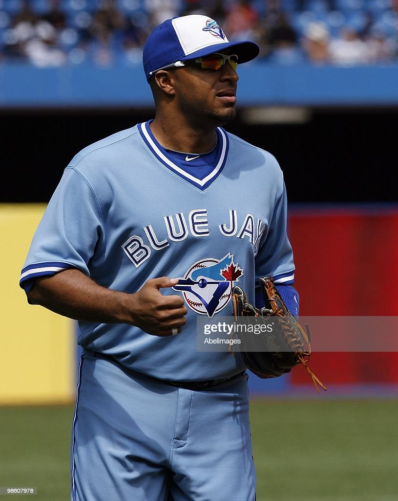 Vernon Wells of the Toronto Blue Jays comes in from the outfield against the Kansas City Royals during a MLB game at the Rogers Centre April 21 2010...