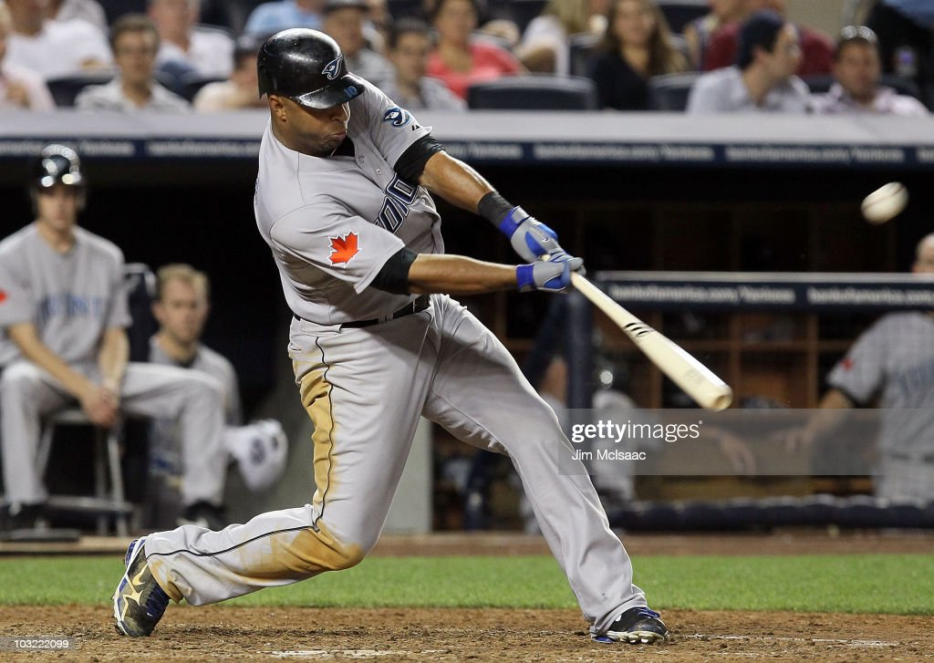 Vernon Wells of the Toronto Blue Jays connects on a eigth inning home run against the New York Yankees on August 3 2010 at Yankee Stadium in the...