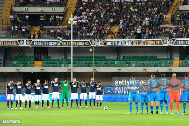 Verona and Napoli's players observe a minutes' silence for the victims of the attack in the Spanish city of Barcelona prior the Italian Serie A...