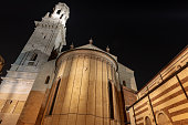 Verona Cathedral at night with the apse and bell tower. Romanesque Renaissance style (1187 - UNESCO world heritage site), Santa Maria Matricolare, Veneto, Italy, Europe