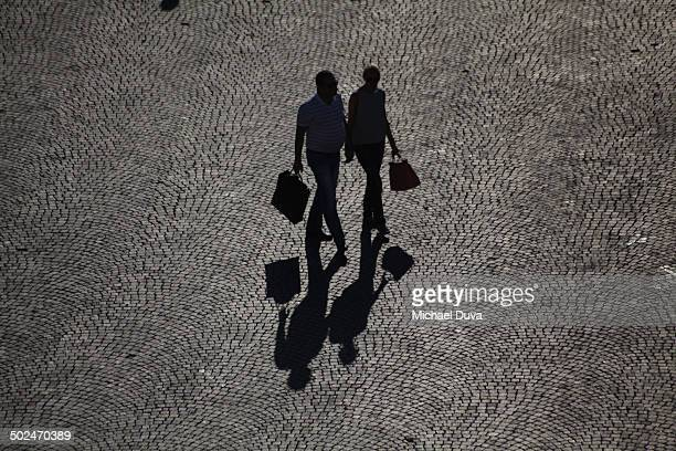 Verona couple walking with shopping bags romantic