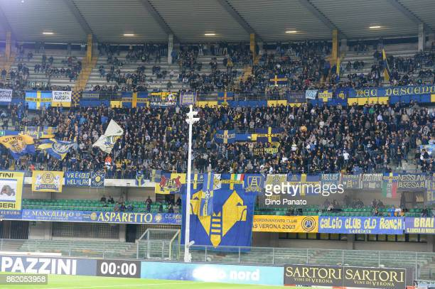 Verona fans shows their support during the Serie A match between Hellas Verona FC and Benevento Calcio at Stadio Marc'Antonio Bentegodi on October 16...
