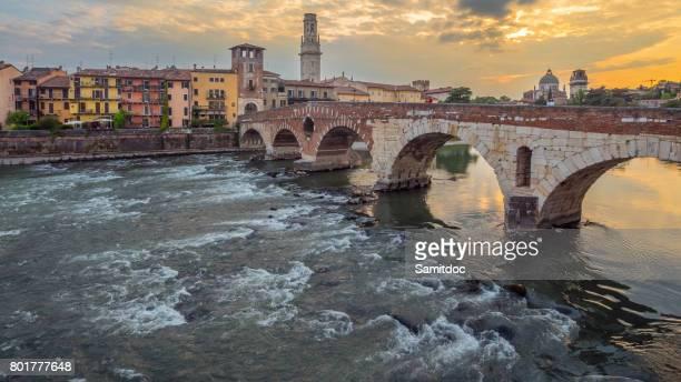 Verona, Italy. Scenery with Adige River and Ponte di Pietra.