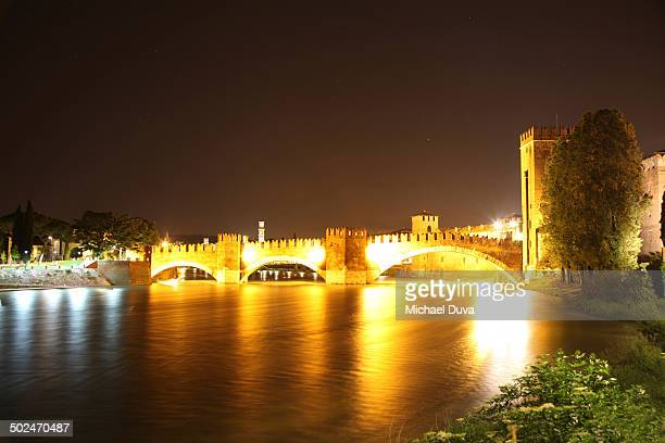 Verona  old castle view from up river at night