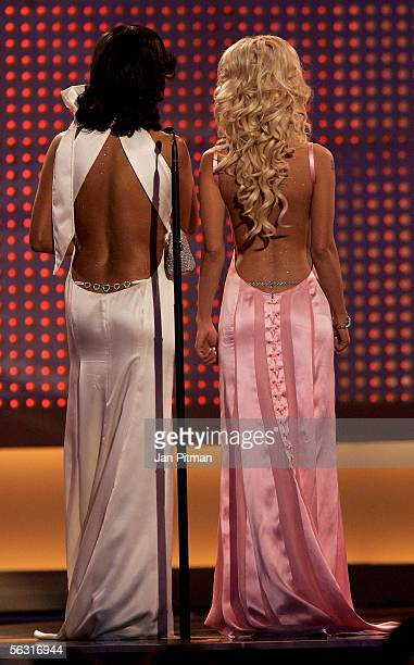 Verona Pooth and Cora Schumacher turn their backs on stage during the 57th annual Bambi Awards at the International Congress Center on December 1...