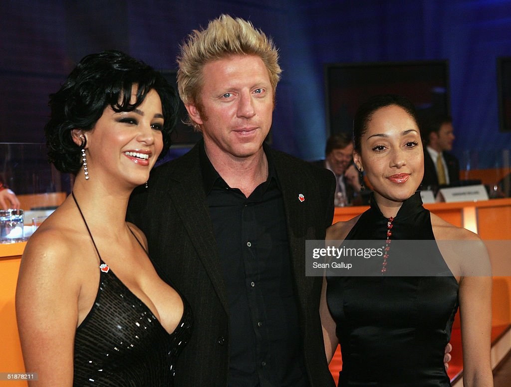 Verona Pooth (L), Boris Becker and his girlfriend Caroline Rocher attend the 'Ein Herz Fuer Kinder' Gala at The Axel Springer building on December 18, 2004 in Berlin, Germany.