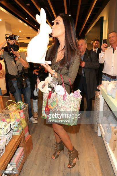 Verona Pooth kisses a bunny during the DEPOT easter shopping event on March 27 2017 in Munich Germany