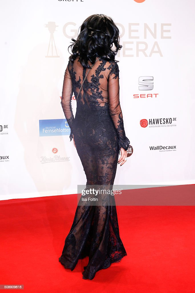 Verona pooth wearing a dress by lana mueller couture attends the
