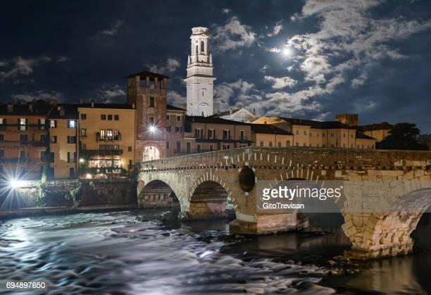Verona, Stone Bridge at the moonlight