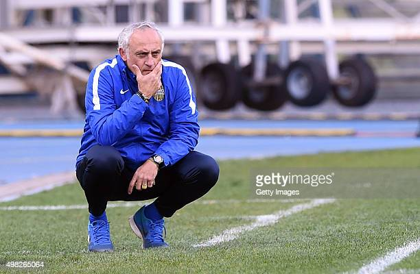 Verona's coach Andrea Mandorlini looks disappointed during the Serie A match between Hellas Verona FC and SSC Napoli at Stadio MarcAntonio Bentegodi...