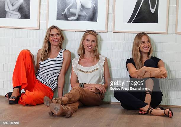 Veronia Blume Judit Masco and Martina Klein attend the opening of the yoga center 'The garage by Veronica Blume' on July 9 2015 in Barcelona Spain