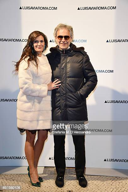 Veronica Berti and Andrea Bocelli walk the red carpet of Firenze4ever 14th Edition Party hosted by LuisaViaRoma on January 9 2017 in Florence Italy