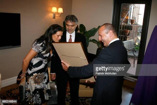 Veronica Berti Andrea Bocelli and Guest attend JOHN SEXTON and MATILDA RAFFA CUOMO host a reception honoring ANDREA BOCELLI at Private Residence on...