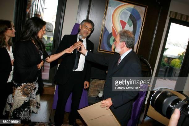 Veronica Berti Andrea Bocelli and John Saxton attend JOHN SEXTON and MATILDA RAFFA CUOMO host a reception honoring ANDREA BOCELLI at Private...
