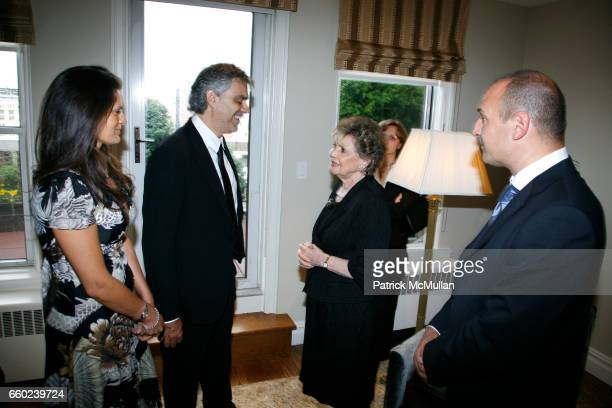 Veronica Berti Andrea Bocelli Guest Matilda Raffa Cuomo and Guest attend JOHN SEXTON and MATILDA RAFFA CUOMO host a reception honoring ANDREA BOCELLI...