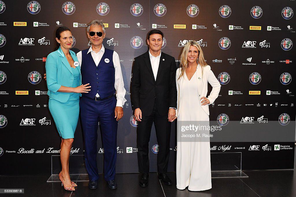 Veronica Berti, <a gi-track='captionPersonalityLinkClicked' href=/galleries/search?phrase=Andrea+Bocelli&family=editorial&specificpeople=211558 ng-click='$event.stopPropagation()'>Andrea Bocelli</a>, <a gi-track='captionPersonalityLinkClicked' href=/galleries/search?phrase=Javier+Zanetti&family=editorial&specificpeople=206966 ng-click='$event.stopPropagation()'>Javier Zanetti</a> and Paula Zanetti attend the Bocelli and Zanetti Night press conference on May 24, 2016 in Arese, Italy.