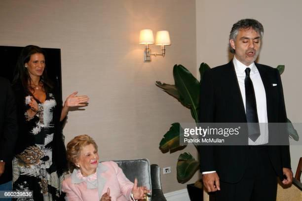 Veronica Berti Shelby Modell and Andrea Bocelli attend JOHN SEXTON and MATILDA RAFFA CUOMO host a reception honoring ANDREA BOCELLI at Private...