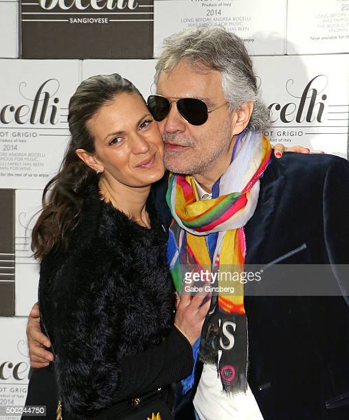 Veronica Bocelli and her husband singer Andrea Bocelli attend an unveiling of a lifesized statue of Andrea Bocelli at the Cleveland Clinic Lou Ruvo...