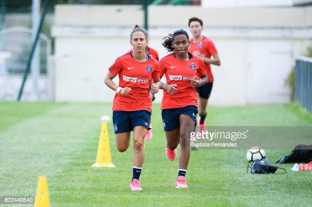 Veronica Boquete and Perle Morroni of Paris Saint Germain during a training session of Paris Saint Germain at Bougival on July 25 2017 in Paris France
