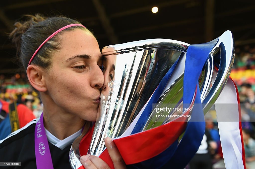 Veronica Boquete of 1. FFC Frankfurt celebrates with the trophy after the UEFA Women's Champions League Final between 1. FFC Frankfurt and Paris St. Germain at Friedrich-Ludwig-Jahn Sportpark on May 14, 2015 in Berlin, Germany.