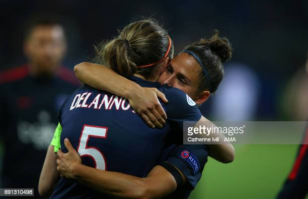 Veronica Boquete of PSG consoles Sabrina Delannoy of PSG the UEFA Women's Champions League Final match between Lyon and Paris Saint Germain at...