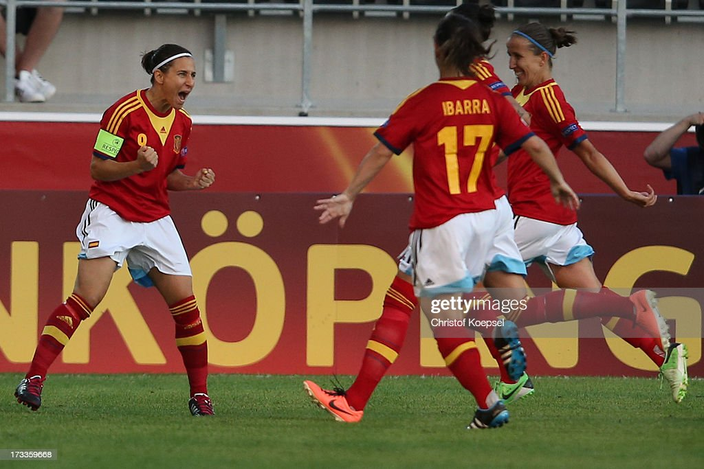Veronica Boquete of Spain celebrates the first goal with Elisabeth Ibarra and Ruth Garcia during the UEFA Women's EURO 2013 Group C match between England and Spain at Linkoping Arena on July 12, 2013 in Linkoping, Sweden.
