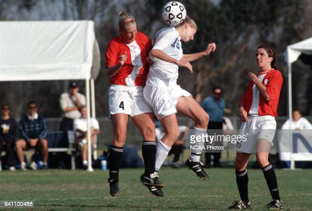 Veronica Botold of Christian Brothers University battles Erika Alfredson of the University of CaliforniaSan Diego for control of the ball while...