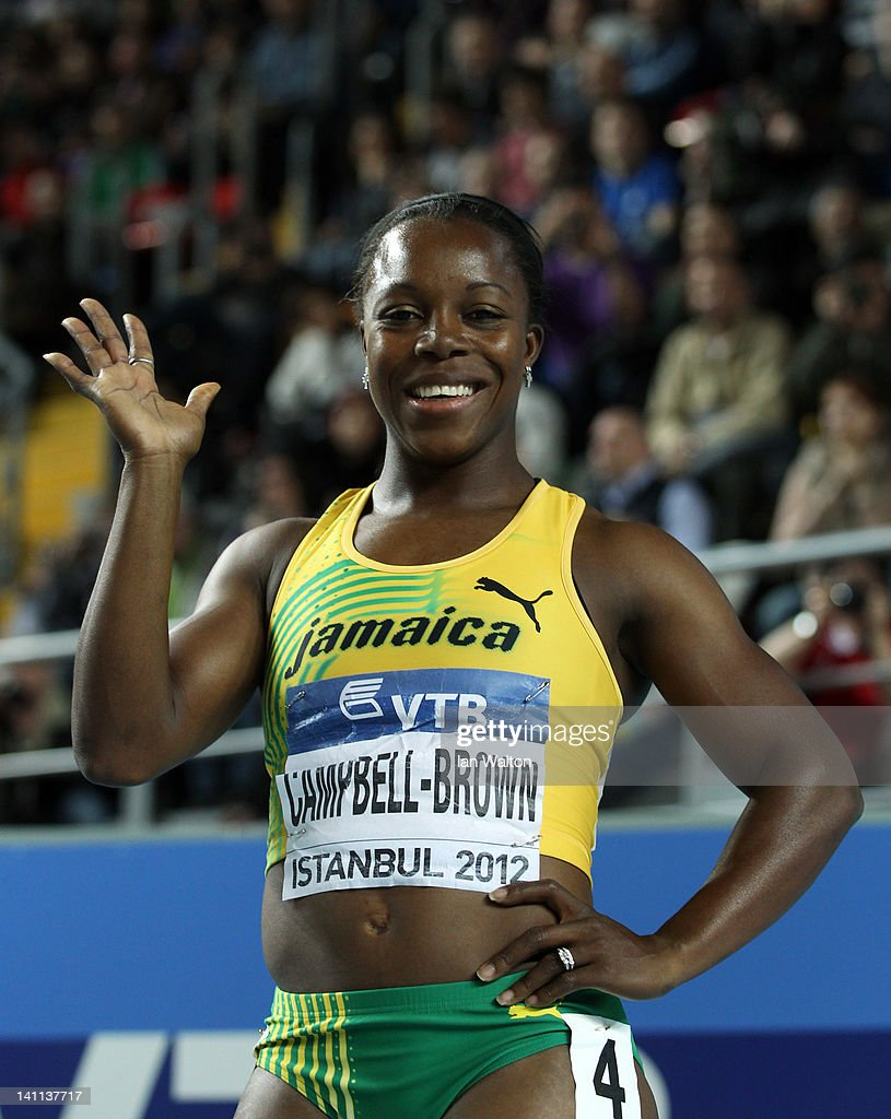 <a gi-track='captionPersonalityLinkClicked' href=/galleries/search?phrase=Veronica+Campbell-Brown&family=editorial&specificpeople=4861760 ng-click='$event.stopPropagation()'>Veronica Campbell-Brown</a> of Jamaica celebrates as she wins gold in the Women's 60 Metres Final during day three of the 14th IAAF World Indoor Championships at the Atakoy Athletics Arena on March 11, 2012 in Istanbul, Turkey