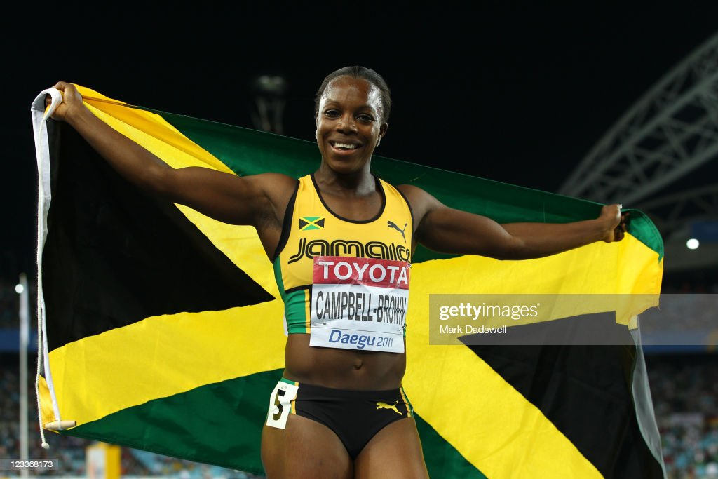 <a gi-track='captionPersonalityLinkClicked' href=/galleries/search?phrase=Veronica+Campbell-Brown&family=editorial&specificpeople=4861760 ng-click='$event.stopPropagation()'>Veronica Campbell-Brown</a> of Jamaica celebrates winning the women's 200 metres final during day seven of 13th IAAF World Athletics Championships at Daegu Stadium on September 2, 2011 in Daegu, South Korea.