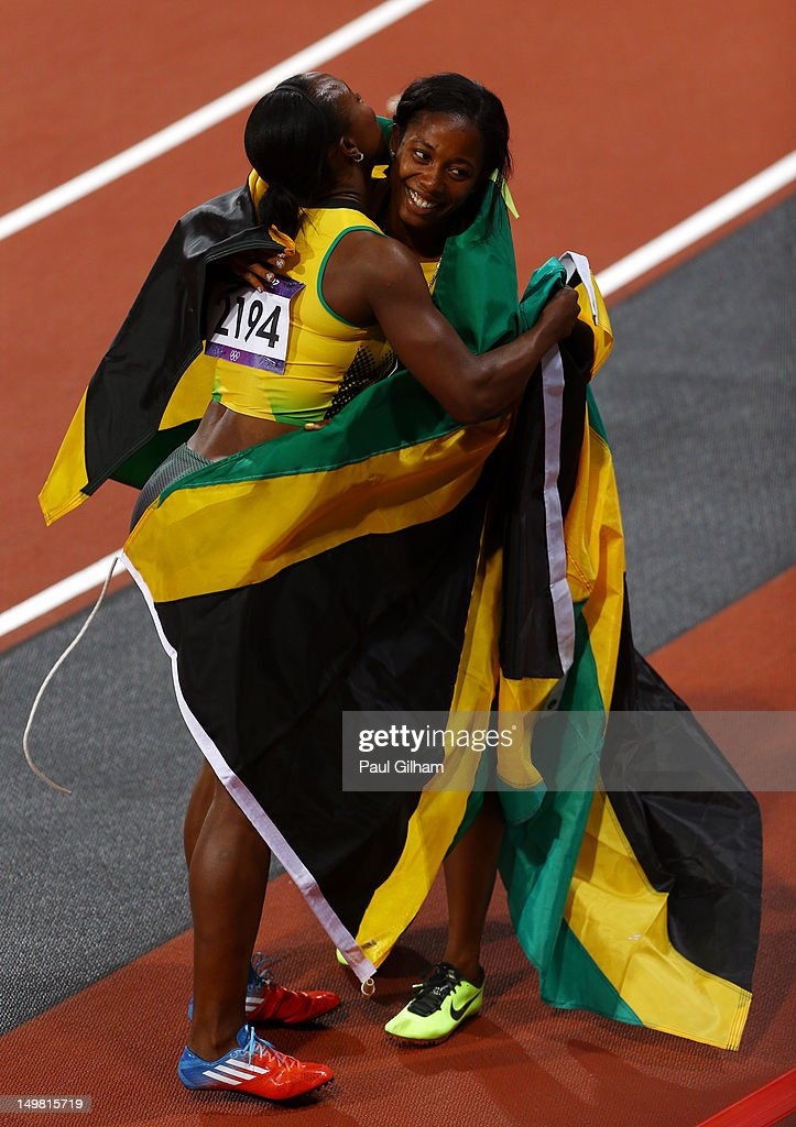 <a gi-track='captionPersonalityLinkClicked' href=/galleries/search?phrase=Veronica+Campbell-Brown&family=editorial&specificpeople=4861760 ng-click='$event.stopPropagation()'>Veronica Campbell-Brown</a> of Jamaica congratulates a <a gi-track='captionPersonalityLinkClicked' href=/galleries/search?phrase=Shelly-Ann+Fraser&family=editorial&specificpeople=5493833 ng-click='$event.stopPropagation()'>Shelly-Ann Fraser</a>-Pryce of Jamaica on winning gold in the Women's 100m Final on Day 8 of the London 2012 Olympic Games at Olympic Stadium on August 4, 2012 in London, England.