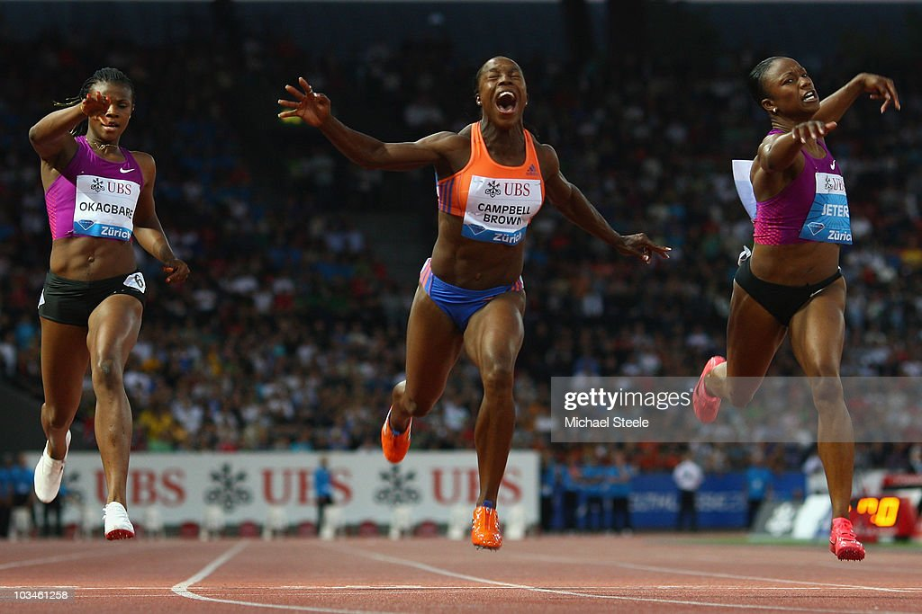 <a gi-track='captionPersonalityLinkClicked' href=/galleries/search?phrase=Veronica+Campbell-Brown&family=editorial&specificpeople=4861760 ng-click='$event.stopPropagation()'>Veronica Campbell-Brown</a> (c) of Jamaica wins the women's 100m from <a gi-track='captionPersonalityLinkClicked' href=/galleries/search?phrase=Carmelita+Jeter&family=editorial&specificpeople=4472760 ng-click='$event.stopPropagation()'>Carmelita Jeter</a> (r) of USA and <a gi-track='captionPersonalityLinkClicked' href=/galleries/search?phrase=Blessing+Okagbare&family=editorial&specificpeople=5496695 ng-click='$event.stopPropagation()'>Blessing Okagbare</a> (l) of Nigeria during the Iaaf Diamond League meeting at the Letzigrund Stadium on August 19, 2010 in Zurich, Switzerland.