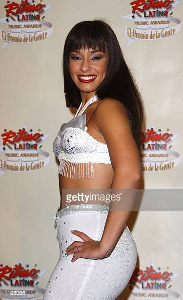 Veronica Castro a cast member from the musical play 'Selena Forever' poses at the 3rd Annual Ritmo Latino Music Awards 'El Premio De La Gente'...