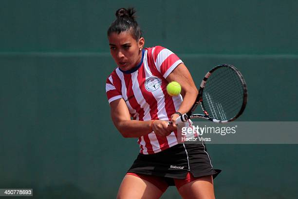 Veronica Cepede of Paraguay competes during a Tennis match as part of the XVII Bolivarian Games Trujillo 2013 at Luz Marina Neyra Coliseum on...