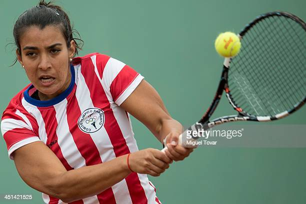 Veronica Cepede of Paraguay competes in Copa de Naciones as part of the XVII Bolivarian Games Trujillo 2013 at Luz Marina Neyra Coliseum on November...