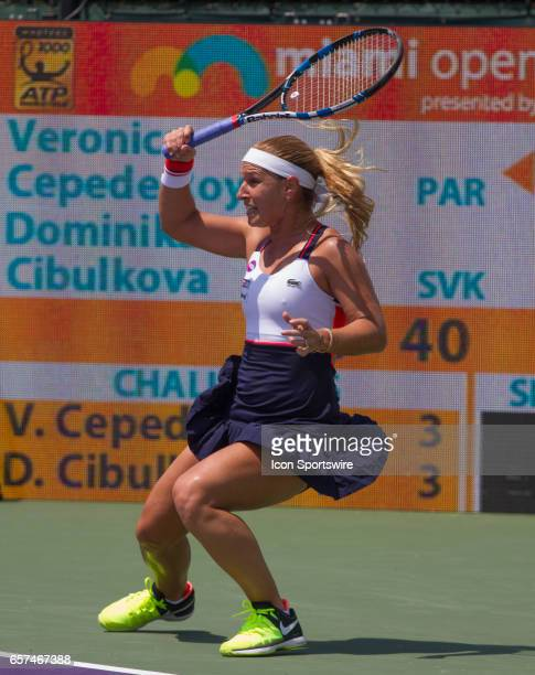 Veronica Cepede Royg in action during the 2017 Miami Open in Key on March 23 at the Tennis Center at Crandon Park in Biscayne FL