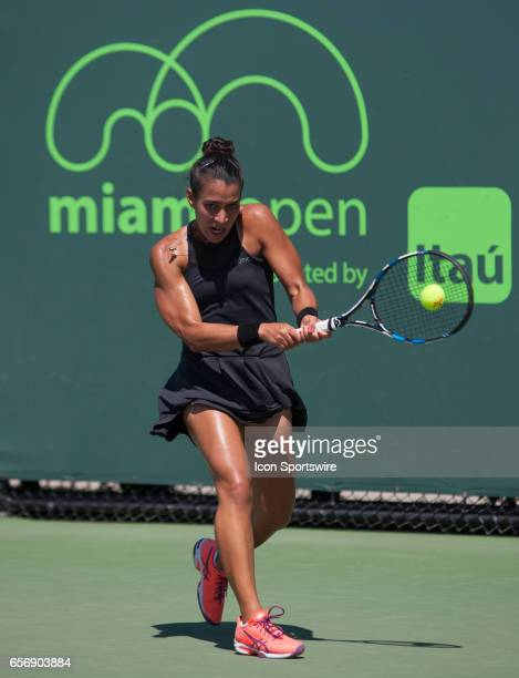 Veronica Cepede Royg in action during the Miami Open on March 22 at the Tennis Center at Crandon Park in Key Biscayne FL