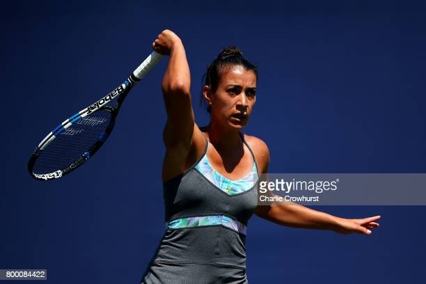 Veronica Cepede Royg of Paraguay in action during her women's qualifying match against Sara Errani of Italy during qualifying on day one of the Aegon...