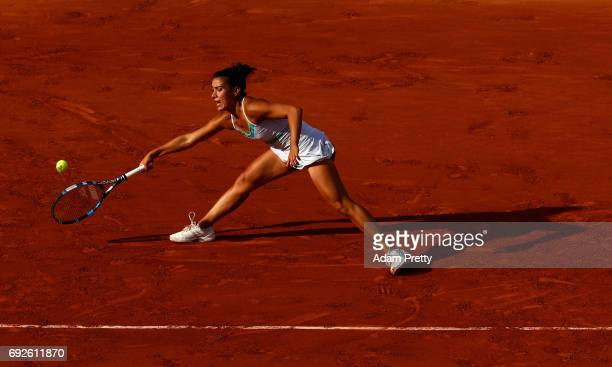 Veronica Cepede Royg of Paraguay in action during ladies singles fourth round match against Karolina Pliskova of The Czech Republic on day nine of...
