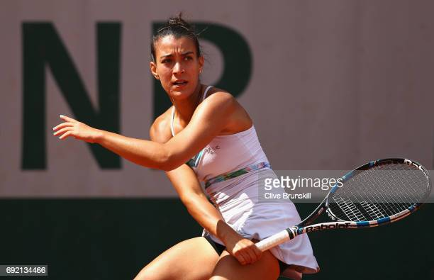 Veronica Cepede Royg of Paraguay plays a forehand during the ladies singles third round match against Mariana DuqueMarino of Columbia on day eight of...
