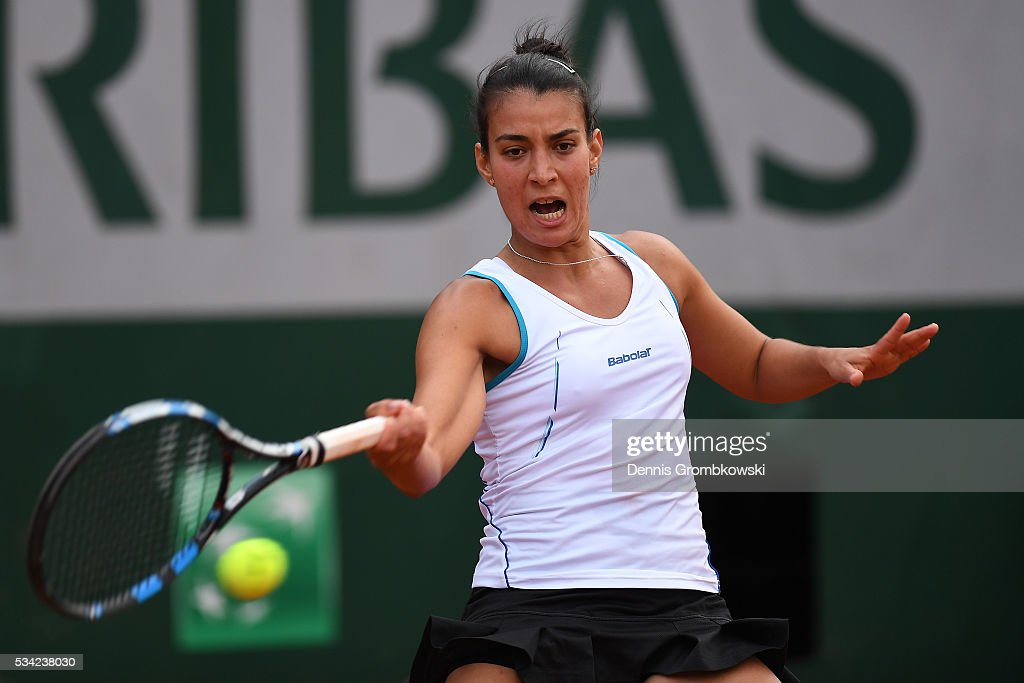Veronica Cepede Royg of Paraguay plays a forehand during the Women's Singles second round match against Sloane Stephens of the United States on day four of the 2016 French Open at Roland Garros on May 25, 2016 in Paris, France.