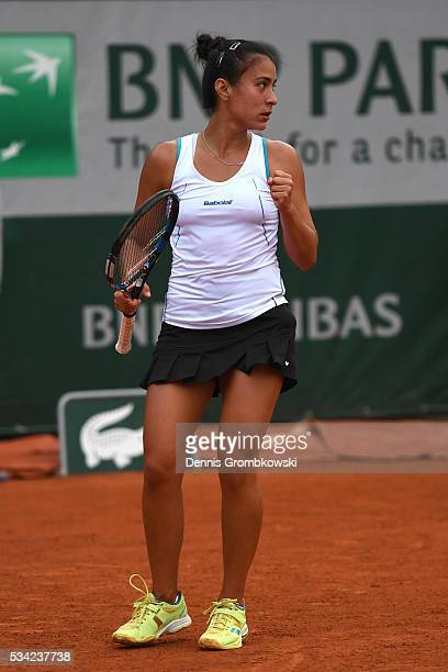 Veronica Cepede Royg of Paraguay reacts during the Women's Singles second round match against Sloane Stephens of the United States on day four of the...