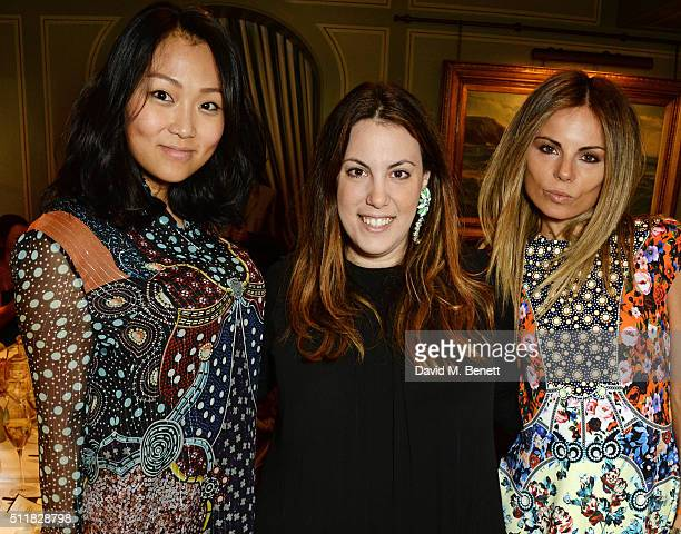 Veronica Chou Mary Katrantzou and Erica Pelosini attend the Mary Katrantzou London Fashion Week lunch at Mark's Club on February 23 2016 in London...