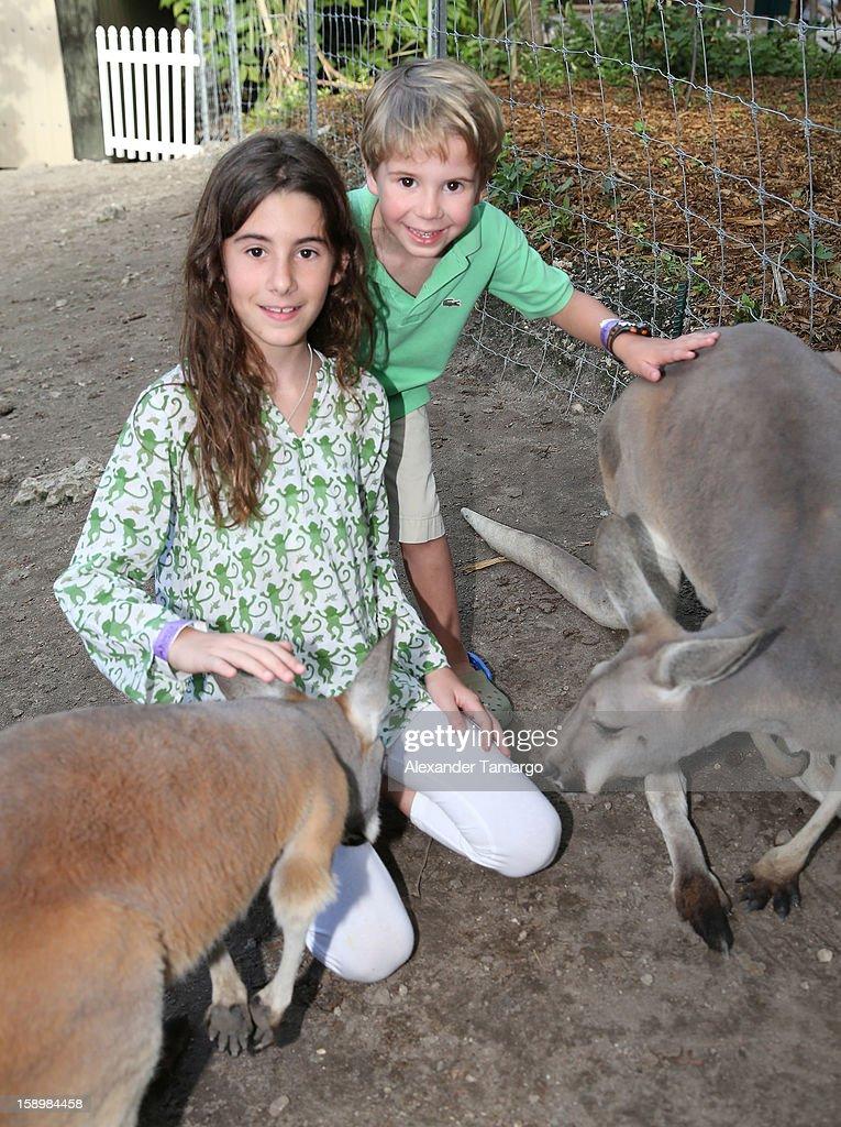 Veronica Drescher and Hudson Drescher are seen during the Jungle Island VIP Safari Tour at Jungle Island on January 4, 2013 in Miami, Florida.