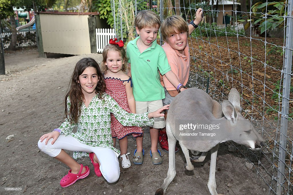 Veronica Drescher, Sienna Drescher, Hudson Drescher and Harrison Drescher are seen during the Jungle Island VIP Safari Tour at Jungle Island on January 4, 2013 in Miami, Florida.