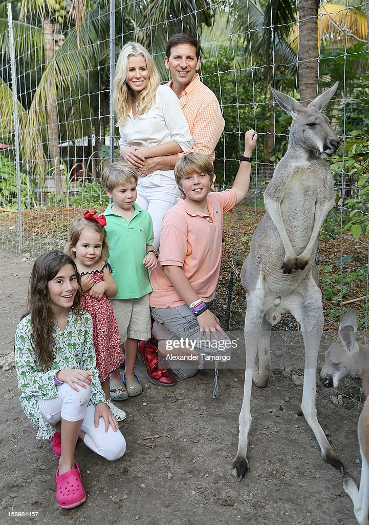 Veronica Drescher, Sienna Drescher, Hudson Drescher, Aviva Drescher, Reid Drescher and Harrison Drescher are seen during the Jungle Island VIP Safari Tour at Jungle Island on January 4, 2013 in Miami, Florida.