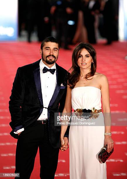 Veronica Echegui and friend arrive to Goya Cinema Awards 2012 ceremony at the Palacio Municipal de Congresos on February 19 2012 in Madrid Spain