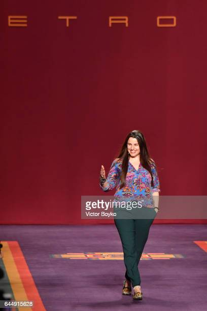 Veronica Etro acknowledges the applause of the audience at the Etro show during Milan Fashion Week Fall/Winter 2017/18 on February 24 2017 in Milan...