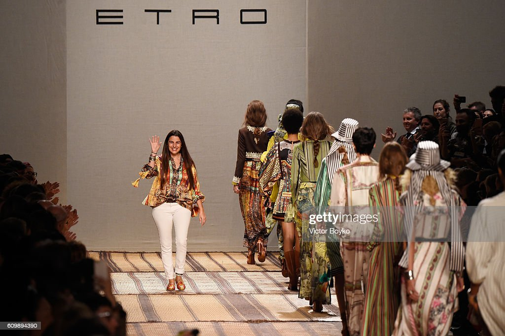 Veronica Etro and model walks the runway at the Etro show during Milan Fashion Week Spring/Summer 2017 on September 23, 2016 in Milan, Italy.